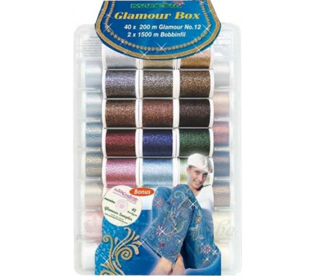 Набор ниток Glamour №12 (40 Glamour*2х1,500м Bobbinfil* CD 42 designs)